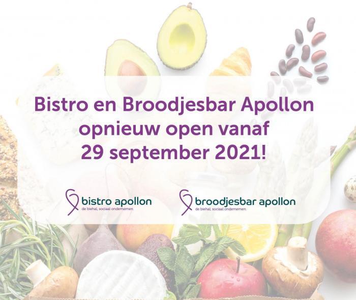 Bistro en Broodjesbar Apollon open vanaf 29-9 de Biehal