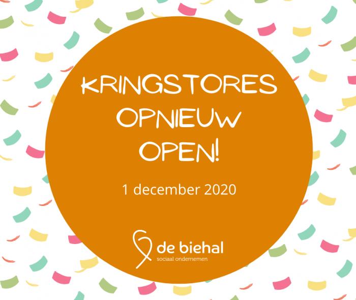 Kringstores opnieuw open 01/12/2020